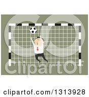 Clipart Of A Flat Design White Businessman Trying To Block A Soccer Ball In A Goal Net Over Green Royalty Free Vector Illustration