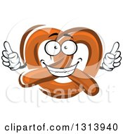 Clipart Of A Cartoon Soft Pretzel Character Holding Up Two Fingers Royalty Free Vector Illustration by Vector Tradition SM