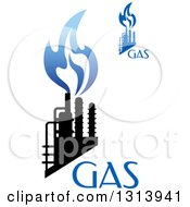Clipart Of Black And Blue Natural Gas And Flame Designs With Text 5 Royalty Free Vector Illustration