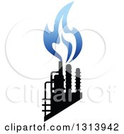 Clipart Of A Black And Blue Natural Gas And Flame Design 5 Royalty Free Vector Illustration