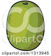 Clipart Of A Cartoon Green Kiwi Fruit Royalty Free Vector Illustration