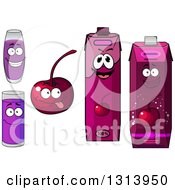 Clipart Of A Happy Cherry Character Cups And Juice Cartons 2 Royalty Free Vector Illustration