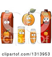Clipart Of A Cartoon Apricot Character And Juices Royalty Free Vector Illustration