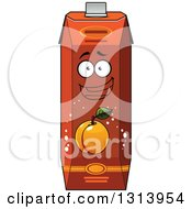 Clipart Of A Cartoon Apricot Juice Carton Character Royalty Free Vector Illustration