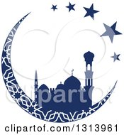 Clipart Of A Blue Silhouetted Mosque In A Patterned Crescent Moon With Stars Ramadan Kareem For Muslim Holy Month Royalty Free Vector Illustration