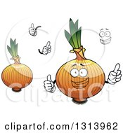 Clipart Of A Cartoon Face Hands And Yellow Onions Royalty Free Vector Illustration