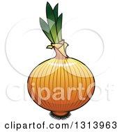 Clipart Of A Cartoon Shiny Yellow Onion Royalty Free Vector Illustration