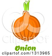 Clipart Of A Cartoon Yellow Onion Over Green Text Royalty Free Vector Illustration