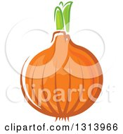 Clipart Of A Cartoon Yellow Onion Royalty Free Vector Illustration