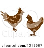 Clipart Of Brown Silhouetted Chickens With Cuts Of Poultry Meat And Text Royalty Free Vector Illustration
