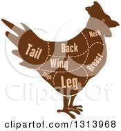 Clipart Of A Brown Silhouetted Chicken With Cuts Of Poultry Meat And Text Royalty Free Vector Illustration