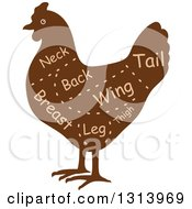 Clipart Of A Brown Silhouetted Chicken With Cuts Of Poultry Meat And Text 2 Royalty Free Vector Illustration