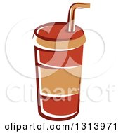 Clipart Of A Cartoon Brown Fountain Soda Cup Royalty Free Vector Illustration