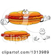 Clipart Of A Cartoon Happy Face Hands And Hot Dogs Royalty Free Vector Illustration