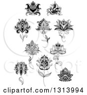 Clipart Of Black And White Henna And Lotus Flowers 10 Royalty Free Vector Illustration