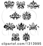 Clipart Of Black And White Vintage Floral Design Elements 12 Royalty Free Vector Illustration by Vector Tradition SM