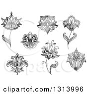 Clipart Of Black And White Henna And Lotus Flowers 11 Royalty Free Vector Illustration