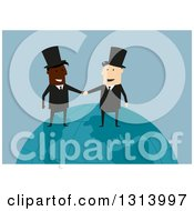 Clipart Of Flat Design White And Black Industrialist Business Men Shaking Hands On A Globe Over Blue Royalty Free Vector Illustration