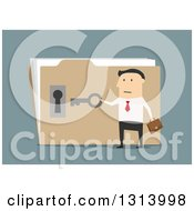 Clipart Of A Flat Design White Businessman Opening A Confidential Folder On Blue Royalty Free Vector Illustration by Vector Tradition SM