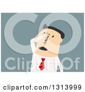 Clipart Of A Flat Design White Businessman Turning On A Switch On His Face Over Blue Royalty Free Vector Illustration
