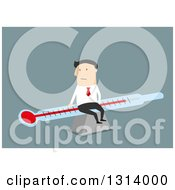 Clipart Of A Flat Design White Businessman Sitting On A Thermometer Over Blue Royalty Free Vector Illustration