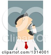 Clipart Of A Flat Design White Businessman Having A Tiny Dentist Check Out His Mouth Over Blue Royalty Free Vector Illustration by Vector Tradition SM