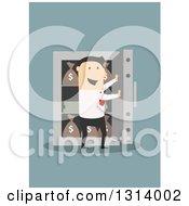 Poster, Art Print Of Flat Design White Businessman Opening A Vault Full Of Money On Blue
