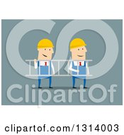 Clipart Of Flat Design White Businessmen Contractors Carrying A Ladder Royalty Free Vector Illustration by Vector Tradition SM