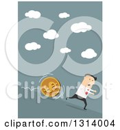 Clipart Of A Flat Design Of A White Businessman Running Down Hill From A Big Coin On Blue Royalty Free Vector Illustration