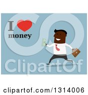 Clipart Of A Flat Design Black Business Man Running With Text And I Love Money Text On Blue Royalty Free Vector Illustration