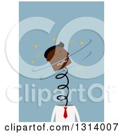 Clipart Of A Flat Design Stressed Black Business Mans Head Popping Up On A Spring On Blue Royalty Free Vector Illustration