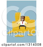 Clipart Of A Flat Design Of A Black Businessman With Stacks Of Coins On Blue Royalty Free Vector Illustration by Vector Tradition SM