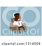 Clipart Of A Flat Modern Black Businessman Listening To Music And Sitting In A Chair Over Blue Royalty Free Vector Illustration