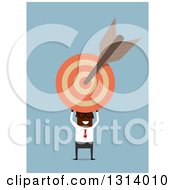 Clipart Of A Flat Modern Bespectacled Black Businessman Holding A Target With An Arrow Over Blue Royalty Free Vector Illustration