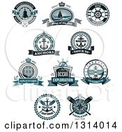 Clipart Of Blue Nautical Maritime Labels With Text Royalty Free Vector Illustration