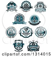 Clipart Of Blue Nautical Maritime Labels With Text 2 Royalty Free Vector Illustration by Vector Tradition SM