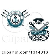 Clipart Of Nautical Maritime Trident And Anchor Designs With Text Royalty Free Vector Illustration by Vector Tradition SM