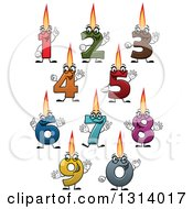 Clipart Of Cartoon Colorful Numbered Birthday Candle Characters Royalty Free Vector Illustration by Vector Tradition SM