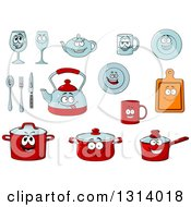 Clipart Of Cartoon Dish Characters Royalty Free Vector Illustration by Vector Tradition SM