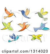 Clipart Of Colorful Sketched Hummingbirds Royalty Free Vector Illustration