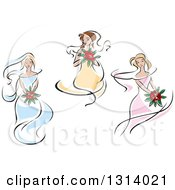Clipart Of A Sketched Brides In Yellow Pink And Blue Dresses 2 Royalty Free Vector Illustration
