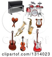 Cartoon Piano Drum Set Lyre Saxophone Trumpet Maracas Guitars And Violin