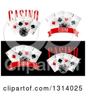Clipart Of Casino Poker Chips And Playing Cards With Text Royalty Free Vector Illustration