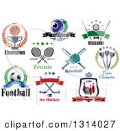Clipart Of Basketball Ping Pong Billiards Tennis Baseball Darts Soccer Ice Hockey And Bowling Sports Designs With Text Royalty Free Vector Illustration