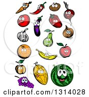 Clipart Of A Carrot Chili Pepper Potato Beet Tomato Eggplant Red Bell Pepper Yellow Onion Garlic Pear Apple Banana Orange Apricot Melon Watermelon And Grapes Characters Royalty Free Vector Illustration
