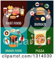 Clipart Of Flat Designs Of Fast Food Burger Snack Food And Pizza Royalty Free Vector Illustration