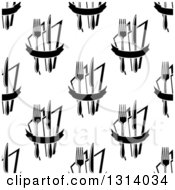 Clipart Of A Seamless Black And White Background Pattern Of Forks Knives And Napkins Royalty Free Vector Illustration