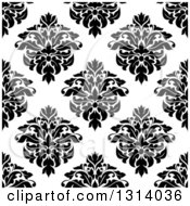 Clipart Of A Seamless Pattern Background Of Vintage Damask In Black On White 3 Royalty Free Vector Illustration by Vector Tradition SM