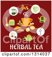 Clipart Of A Circle Of Ingredients Around A Cup Over Herbal Tea Text On Red Royalty Free Vector Illustration by Vector Tradition SM