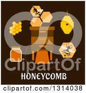 Clipart Of A Flat Design Of Bees Honeycombs Around A Box With Text On Brown Royalty Free Vector Illustration by Vector Tradition SM